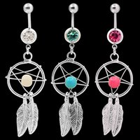 Wholesale Gem Body Button - Body Jewelry Crystal Gem Dream Catcher Navel Dangle Belly Barbell Button Bar Ring Body piercing Art 06PB