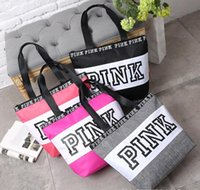 Wholesale Black White Striped Bags - Free Fashion Pink Letter Handbags Secret VS Shoulder Bags Women Love Large Capacity Travel Duffle Striped Waterproof Beach Bag Shoulder Bag