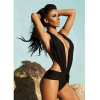Costume da bagno da bagno di costume da bagno Lady Swimwear Donna Costume da bagno Swimwear Backless Monokini One Piece Donna Sexy Deep V-Neck Donna Biquinis Black ISP
