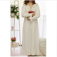 Wholesale Women Cotton Nightdress - Women SLeepwear Cotton Nightgown Casual Sleepwear Ladies Royal Vintage Night wear White Nightdress Comfortable clothes for bed