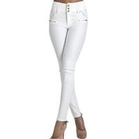 jeans élastiques pour taille plus achat en gros de-En gros-Automne 2016 nouveau maigre taille haute Jeans femme blanc boutons longs crayon pantalon femmes élastiques slim denim jean pantalons taille