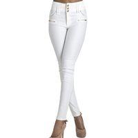 женский карандаш джинс оптовых-Wholesale- Autumn 2016 new Skinny High Waist Jeans Female white buttons long Pencil Pants women Elastic slim Denim Jeans Trousers Plus Size