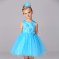 Wholesale Retail Girls Dress Watermelon - Retail New Girl Dresses With Beading Flower Girl Dress Kid Girl's Tank Party Dresses With Embroidery L15062