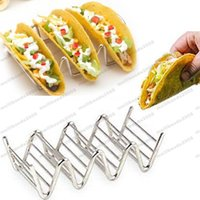 Wholesale Free Standing Kitchens - Wave Shape Stainless Steel Taco Display Stand Up Holders Kitchen Food Rack Shell free shipping MYY
