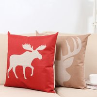 Wholesale Deer Case - Hot sale Deer head series Christmas elk linen double color pillow case can be customized free shipping
