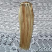 ingrosso le estensioni dei capelli del busto di capelli diritti-Capelli vergini malesi Diritto 27/613 capelli vergini biondi Fasci di tessuto 100g 1 pz estensioni di capelli umani doppia trama