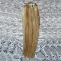 sarışın örgü uzantıları demeti toptan satış-Malezya bakire saç Düz 27/613 sarışın bakire saç Örgü Demetleri 100g 1 adet insan saç uzantıları çift atkı
