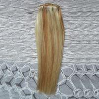 extensiones de cabello 27 613 al por mayor-Pelo virgen de Malasia Recto 27/613 Paquetes de armadura de cabello virgen rubio 100 g 1pcs Extensiones de cabello humano trama doble