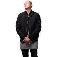 Wholesale l style flights - Fashion  Style Mens Black Bomber Jacket Hi-Street Flight Jacket Slim Fit Hip Hop Varsity Letterman Jacket For Man Plus Size 2XL