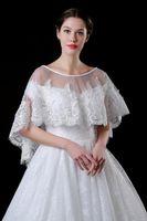 ingrosso giacche da sposa in rilievo-Pizzo Bolero per Brides Mezza Maniche Appliques Beaded Short Jacket Wraps Scialle a buon mercato CPA969