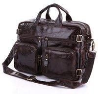 Wholesale Genuine Laptops - Wholesale-Multifunction real Genuine leather men messenger bags business men bags men's briefcase shoulder laptop men's travel bag
