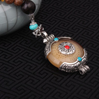 Wholesale Nepal Silver - Wholesale- 2 colors fashion imitational beewax ethnic beige necklace,Nepal jewelry handmade sandalwoods vintage tibetan silver necklace
