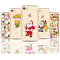 Wholesale Cell Christmas Cases Wholesale - Fashion Christmas TPU painting cell phone Case For Apple iPhone 5S 6S 7 Plus case ultra thin soft PC back silicone phone cover shell