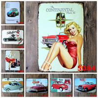 Wholesale Sexy Bar Paintings - Sexy Girl Lady Tin Poster 20*30cm Retro Metal Tin Sign Car Iron Painting Decor Wall Of Bar Cafe Pub Shop Popular 4rjc A