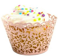 papel de parede cupcakes venda por atacado-5000 pçs / lote, hot sanwony pequena videira laço de corte a laser cupcake invólucro forro baking cup oco bolo de papel copo diy cozimento fondant cupcake