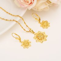 Wholesale Eastern Star Necklace - Ethiopian Real 24k Yellow Solid Fine Gold GF FINISH set Jewelry Anise Pendant Chain Earrings African Bride Wedding Star Bijoux