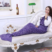 Wholesale Microfiber Fabric Blanket - 2017 New listing mermaid sofa blanket TV blanket 5 colors 180X90cm quality assurance