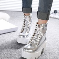 Wholesale Lace Up Punk High Platform - Wholesale-Punk Gothic womens Ankle Boots Lace up Chunky Block Square High Heel platform Creeper round toe Fashion Ankle Boots shoes