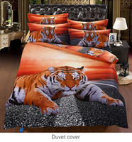 Printed organic cotton comforters - piece Organic Cotton D bedding sets Euro Double queen king size animals print tiger cotton satin bed set
