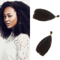 Wholesale tight curly human hair resale online - Tight Curly Bulk Human Hair for African American inch Brazilian Human Braiding Hair Kinky Curly Hair Extensions FDSHINE