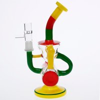 Wholesale cm paint - Colorful Painted Glass Bongs 19 cm Tall 14.4mm oil Rig smoking water pipes Two Fuction New Style