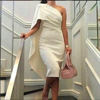 bainha vestido de baile de gala venda por atacado-Sexy Curto Vestidos de Cocktail Para A Festa de Meninas Venda Cetim Marfim Bainha de Um Ombro Verão Elegante Vestidos De Festa curto prom vestido