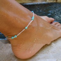 Wholesale Turquoise Beads Wholesale Prices - Fashion Imitation Turquoise Beads Silver Anklet Foot Chain Ankle Bracelet Gift Low Price