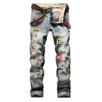 29-38 Big Size Holes Jeans Männer zerrissen Jean Pants Erwachsene Anzahl 57 Patch Retro Straight Male Hose Classic Club Denim Jeans