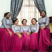más el vestido de noche tamaño fuschia al por mayor-2017 Top Africano Gris Fuschia Manga Larga Vestidos de dama de honor Más el tamaño de gasa de encaje Vestido de damas de honor Maid Of Honor Prom Vestidos de noche