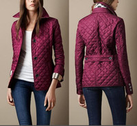Wholesale England Women Coat - Hot Classic women fashion england short thin cotton padded coat high quality brand designer jacket for women size S-XXL ladies free shipping