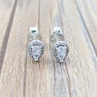 ingrosso orecchini a sfere grigio-Autentici orecchini in argento sterling 925 con borchie a forma di lacrima per orecchini con borchie stile europeo Pandora 296252CZ