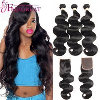 Wholesale three bundles - Brazilian Virgin Human Hair Bundles With 4*4 closure Brazillian Peruvian Indian Malaysian Mongolian Straight Body Wave Hair Extensions