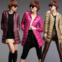 Wholesale Light Pink Women S Coat - Women Down Coats 2017 Ladies Long Winter Solid Warm Coat Ultra Light 90% White Duck Down Jacket Hooded Female Parkas Plus Size