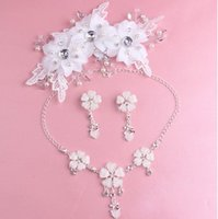 Wholesale China Headdresses - Jewelry Bride Headdress Three Suit Wedding Ceremony Jewelry Pearl Manual Hair Ornaments Necklace Ear Clip Wedding Dress Accessories