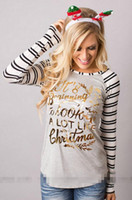 Wholesale Women S Upper Garments - christmas printing Long Sleeve Stripe Letter Printing Self-cultivation Rendering Unlined Upper Garment slim women T shirt