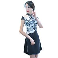 Wholesale Oriental Print Dress - Shanghai Story 2017 Short cheongsam Short Sleeve oriental dress chinese Oriental dress chinese Women's Clothing Short Qipao