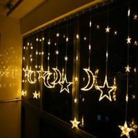 fenerler balkon toptan satış-KTV bar yaratıcı lamba oturma odası balkon dekoratif ışıklar Tatil Noel ışıkları LED yıldız ay perdeleri fener dize parti düğün