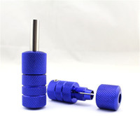 Wholesale grip auto - Wholesale-Newest 5Pcs Lot Aluminum Auto Lock 22mm diameter Tattoo Tube Tattoo Grips Blue Color Free Shipping