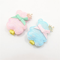 Wholesale Hairpins Teddy - 10pcs lot Novelty Pink Blue Lace Cover Puffy Barrettes Cute Fashion Teddy Crown Bear Hair Clips Girl Pretty Hair Grip Hairpin
