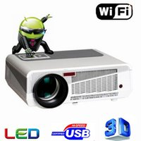 Spedizione gratuita 2016 MAX 5500 lumen Android 4.4 HD LED Wifi Smart proiettore 3D home theater LCD Video Proyector TV Beamer con Bluetooth 4.0
