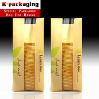 10 pz All'ingrosso Food Grade 12x31 cm Carta Toast Bag / Kraft Toast Bag Finestra Trasparente / Green Leaf Kraft Paper Bread Bag