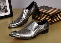 Wholesale Spikes Shoes For Men - Wholesale Medusa Buckle Dress Shoes For Men Spikes Wedding Shoes Blue Velvet Slippers Leather Lining Free Drop Shipping Size 7-14