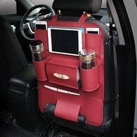 copo de assento traseiro venda por atacado-Assento Traseiro Organizador PU Assento de Carro multi-purpose Proteger Encosto de Cabeça Saco De Armazenamento Copo Ipad Titular Para O Telefone iPad
