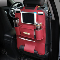 Wholesale Headrest Leather - Back Seat Organizer PU Car Seat multi-purpose Protect Headrest Storage Bag Cup Ipad Holder For Phone iPad