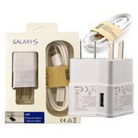 Wholesale Wall Charger S2 - 2A wall Charger Adapter Micro Usb Data Cable with retail box For Samsung Galaxy S4 i9500 S2 S3 Note 3 4 N9000 7100 good quality
