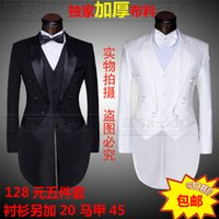 Wholesale Hong Kong Clothing - Wholesale- Hong Kong tuxedo male host MC clothing studio for the groom more leisure suit suit covers 5 times dress + pant