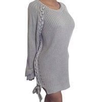 Wholesale Women S Long Sweater Tunics - Wholesale-2016 Novelty O Neck Long Sleeved Irregular Pullovers Sweater Side Split Tunic Shirt Autumn Women Clothings LX225
