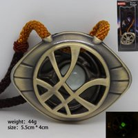Wholesale Luminous Cord - Doctor Strange Movie Necklace pendant Fashion jewelry for Men Women kids eye shape leather cord pendant Luminous Necklace NE719