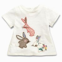 Wholesale little girls t shirts - BST15 NEW ARRIVAL Little Maven Girls Kids 100%Cotton Short Sleeve Cartoon three rabbits Print T shirt girls causal summer t shirt 3 styles