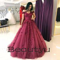 Wholesale 3d Picture Shirt - Glamorous Burgundy Prom Dresses 3D Floral Appliques Lace Tulle Ball Gown 2018 Arabic Dubai Off Shoulder Plus Size Long Formal Evening Gowns